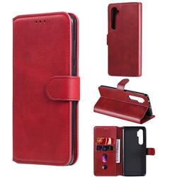 Retro Calf Matte Leather Wallet Phone Case for Xiaomi Mi Note 10 Lite - Red