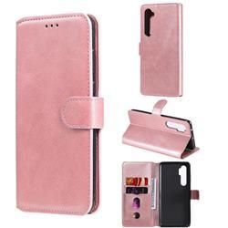 Retro Calf Matte Leather Wallet Phone Case for Xiaomi Mi Note 10 Lite - Pink
