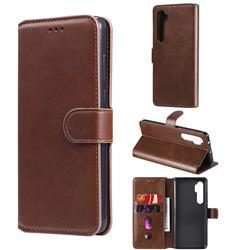 Retro Calf Matte Leather Wallet Phone Case for Xiaomi Mi Note 10 Lite - Brown