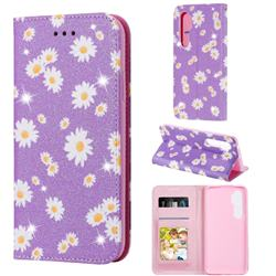 Ultra Slim Daisy Sparkle Glitter Powder Magnetic Leather Wallet Case for Xiaomi Mi Note 10 Lite - Purple
