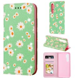 Ultra Slim Daisy Sparkle Glitter Powder Magnetic Leather Wallet Case for Xiaomi Mi Note 10 Lite - Green