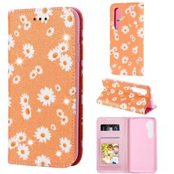 Ultra Slim Daisy Sparkle Glitter Powder Magnetic Leather Wallet Case for Xiaomi Mi Note 10 Lite - Orange