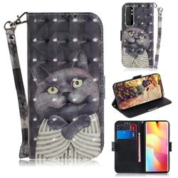 Cat Embrace 3D Painted Leather Wallet Phone Case for Xiaomi Mi Note 10 Lite