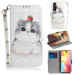 Cute Tomato Cat 3D Painted Leather Wallet Phone Case for Xiaomi Mi Note 10 Lite