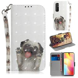 Pug Dog 3D Painted Leather Wallet Phone Case for Xiaomi Mi Note 10 Lite