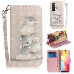 Three Squirrels 3D Painted Leather Wallet Phone Case for Xiaomi Mi Note 10 Lite