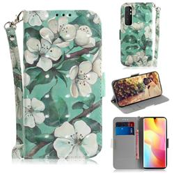 Watercolor Flower 3D Painted Leather Wallet Phone Case for Xiaomi Mi Note 10 Lite