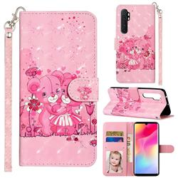 Pink Bear 3D Leather Phone Holster Wallet Case for Xiaomi Mi Note 10 Lite