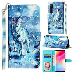 Snow Wolf 3D Leather Phone Holster Wallet Case for Xiaomi Mi Note 10 Lite