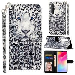 White Leopard 3D Leather Phone Holster Wallet Case for Xiaomi Mi Note 10 Lite