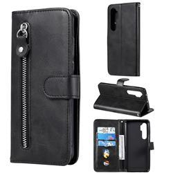 Retro Luxury Zipper Leather Phone Wallet Case for Xiaomi Mi Note 10 Lite - Black
