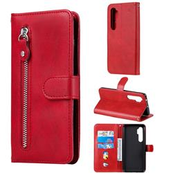 Retro Luxury Zipper Leather Phone Wallet Case for Xiaomi Mi Note 10 Lite - Red