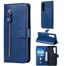 Retro Luxury Zipper Leather Phone Wallet Case for Xiaomi Mi Note 10 Lite - Blue