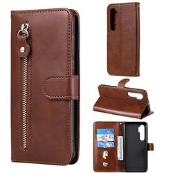 Retro Luxury Zipper Leather Phone Wallet Case for Xiaomi Mi Note 10 Lite - Brown