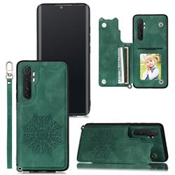 Luxury Mandala Multi-function Magnetic Card Slots Stand Leather Back Cover for Xiaomi Mi Note 10 Lite - Green