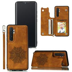 Luxury Mandala Multi-function Magnetic Card Slots Stand Leather Back Cover for Xiaomi Mi Note 10 Lite - Brown