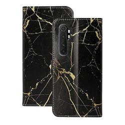 Black Gold Marble PU Leather Wallet Case for Xiaomi Mi Note 10 Lite