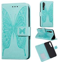 Intricate Embossing Vivid Butterfly Leather Wallet Case for Xiaomi Mi Note 10 Lite - Green