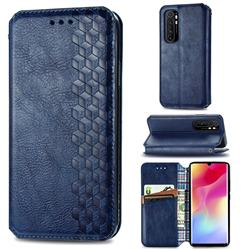 Ultra Slim Fashion Business Card Magnetic Automatic Suction Leather Flip Cover for Xiaomi Mi Note 10 Lite - Dark Blue