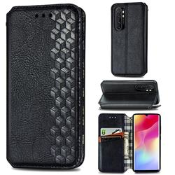 Ultra Slim Fashion Business Card Magnetic Automatic Suction Leather Flip Cover for Xiaomi Mi Note 10 Lite - Black