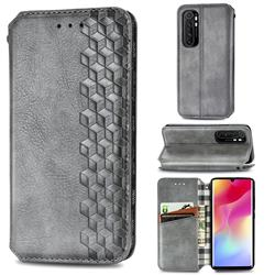 Ultra Slim Fashion Business Card Magnetic Automatic Suction Leather Flip Cover for Xiaomi Mi Note 10 Lite - Grey