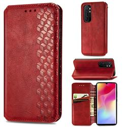 Ultra Slim Fashion Business Card Magnetic Automatic Suction Leather Flip Cover for Xiaomi Mi Note 10 Lite - Red