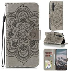 Intricate Embossing Datura Solar Leather Wallet Case for Xiaomi Mi Note 10 Lite - Gray