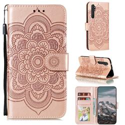 Intricate Embossing Datura Solar Leather Wallet Case for Xiaomi Mi Note 10 Lite - Rose Gold