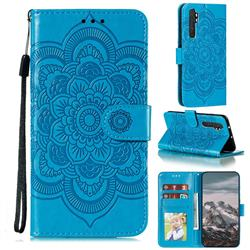 Intricate Embossing Datura Solar Leather Wallet Case for Xiaomi Mi Note 10 Lite - Blue
