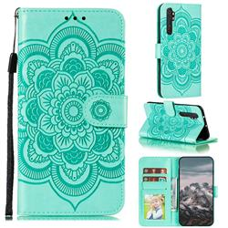 Intricate Embossing Datura Solar Leather Wallet Case for Xiaomi Mi Note 10 Lite - Green