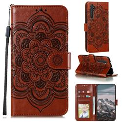 Intricate Embossing Datura Solar Leather Wallet Case for Xiaomi Mi Note 10 Lite - Brown
