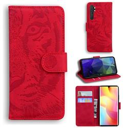 Intricate Embossing Tiger Face Leather Wallet Case for Xiaomi Mi Note 10 Lite - Red
