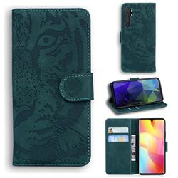 Intricate Embossing Tiger Face Leather Wallet Case for Xiaomi Mi Note 10 Lite - Green