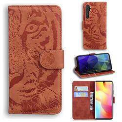 Intricate Embossing Tiger Face Leather Wallet Case for Xiaomi Mi Note 10 Lite - Brown