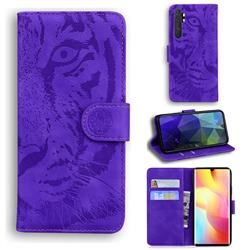Intricate Embossing Tiger Face Leather Wallet Case for Xiaomi Mi Note 10 Lite - Purple