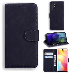 Retro Classic Skin Feel Leather Wallet Phone Case for Xiaomi Mi Note 10 Lite - Black