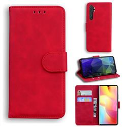 Retro Classic Skin Feel Leather Wallet Phone Case for Xiaomi Mi Note 10 Lite - Red