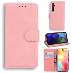 Retro Classic Skin Feel Leather Wallet Phone Case for Xiaomi Mi Note 10 Lite - Pink