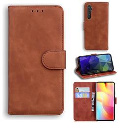 Retro Classic Skin Feel Leather Wallet Phone Case for Xiaomi Mi Note 10 Lite - Brown