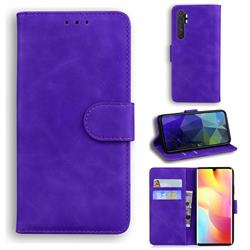 Retro Classic Skin Feel Leather Wallet Phone Case for Xiaomi Mi Note 10 Lite - Purple