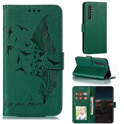 Intricate Embossing Lychee Feather Bird Leather Wallet Case for Xiaomi Mi Note 10 Lite - Green