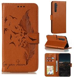 Intricate Embossing Lychee Feather Bird Leather Wallet Case for Xiaomi Mi Note 10 Lite - Brown