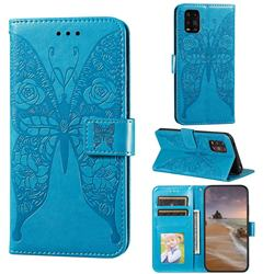 Intricate Embossing Rose Flower Butterfly Leather Wallet Case for Xiaomi Mi Note 10 Lite - Blue