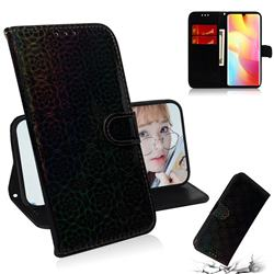 Laser Circle Shining Leather Wallet Phone Case for Xiaomi Mi Note 10 Lite - Black