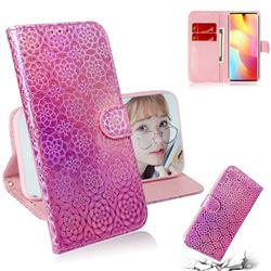 Laser Circle Shining Leather Wallet Phone Case for Xiaomi Mi Note 10 Lite - Pink