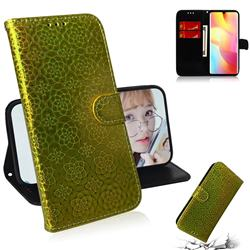 Laser Circle Shining Leather Wallet Phone Case for Xiaomi Mi Note 10 Lite - Golden