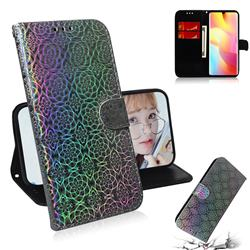 Laser Circle Shining Leather Wallet Phone Case for Xiaomi Mi Note 10 Lite - Silver