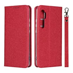 Ultra Slim Magnetic Automatic Suction Silk Lanyard Leather Flip Cover for Xiaomi Mi Note 10 Lite - Red