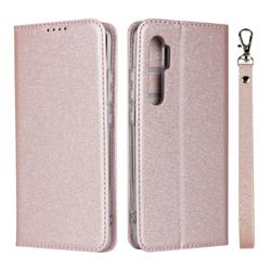 Ultra Slim Magnetic Automatic Suction Silk Lanyard Leather Flip Cover for Xiaomi Mi Note 10 Lite - Rose Gold
