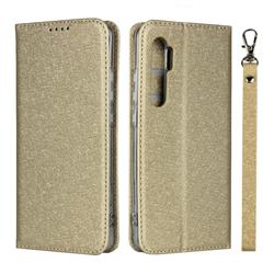 Ultra Slim Magnetic Automatic Suction Silk Lanyard Leather Flip Cover for Xiaomi Mi Note 10 Lite - Golden